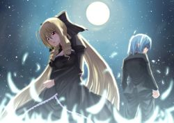 1boy 1girl ayasaki_hayate blonde_hair blue_hair breasts dress formal frills hayate_no_gotoku! long_hair moon night short_hair suit tennousu_athena