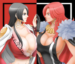 2girls baccarat_(one_piece) black_hair blue_eyes boa_hancock breast_press breasts chikaburo cleavage large_breasts long_hair multiple_girls one_piece one_piece_film_gold