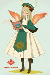 1boy afuro_terumi blonde_hair christmas dress eyes_closed halo hat inazuma_eleven inazuma_eleven_(series) inazuma_eleven_go l_hakase long_hair male singing solo trap wings