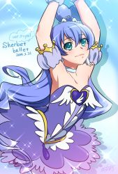 0417nao 1girl 2014 armpits arms_up ballerina bare_shoulders blue_background blue_eyes blue_hair blue_skirt brooch character_name cure_princess cure_princess_(cosplay) cure_royal_(0417nao) dated hair_bun happinesscharge_precure! jewelry long_hair magical_girl original precure skirt smile solo wrist_cuffs