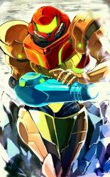 1girl arm_cannon iroyopon metroid power_suit samus_aran sketch solo varia_suit weapon