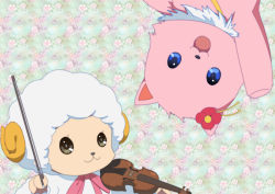 :3 :d amagi_brilliant_park arm_up bear blue_eyes bow_(instrument) commentary_request floral_background flower fur gin_sei56 grey_eyes hair_flower hair_ornament holding horns instrument looking_at_viewer macaron macaron_(amaburi) no_humans open_mouth portrait ribbon sheep smile tiramii violin waving