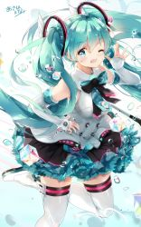 1girl aqua_eyes aqua_hair arm_up boots bow braid dress fang gloves hand_on_hip hatsune_miku headphones highres k.syo.e+ leg_up long_hair looking_at_viewer magical_mirai_(vocaloid) microphone necktie one_eye_closed open_mouth signature solo thighhighs twintails very_long_hair vocaloid white_gloves white_legwear
