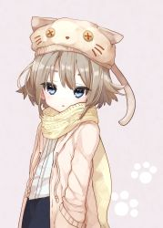 1girl 778-go absurdres animal_hat beret blue_eyes blush brown_hair copyright_request grey_background hand_in_pocket hat highres hood hooded_jacket jacket looking_at_viewer open_clothes open_jacket paw_print scarf shirt solo triangle_mouth white_shirt