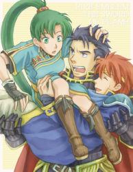 1girl blue_eyes blue_hair eliwood fire_emblem fire_emblem:_rekka_no_ken green_hair hector long_hair lyndis_(fire_emblem) nintendo red_hair