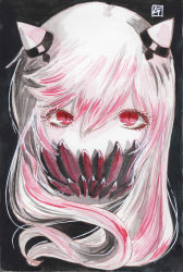 1girl black_background border covered_mouth expressionless eyelashes highres horns kantai_collection long_hair looking_at_viewer midway_hime mixed_media red_eyes shinkaisei-kan signature simple_background solo tesun_(g_noh) traditional_media upper_body watercolor_(medium) white_hair