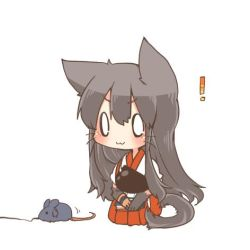 ! 0_0 1girl akagi_(kantai_collection) animal_ears blush brown_hair cat_ears cat_tail chibi kantai_collection long_hair lowres mouse_ears rebecca_(keinelove) simple_background sitting smile string tail toy_mouse whiskers