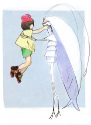 1girl antennae beanie black_eyes black_hair carrying cockroach eyelashes female_protagonist_(pokemon_sm) full_body green_shorts hat insect looking_at_viewer pheromosa pleo pokemon pokemon_(game) pokemon_sm red_hat shirt short_hair short_sleeves shorts tiara tied_shirt ultra_beast