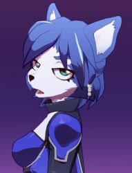 1girl blue_hair bodysuit flat_gaze green_eyes krystal nintendo simple_background solo star_fox