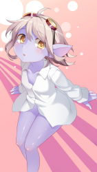 blue_skin bottomless brown_eyes brown_hair dress_shirt goggles goggles_on_head highres league_of_legends legs naked_shirt no_pants pointy_ears shirt short_hair tristana
