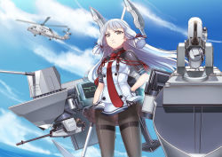 1girl bangs black_legwear blue_sky blunt_bangs bodysuit cannon cloud cowboy_shot gloves gradient_background hair_ribbon hand_on_hip headgear helicopter hiememiko holding kantai_collection long_hair mecha_musume monitor murakumo_(kantai_collection) necktie ocean pantyhose red_eyes remodel_(kantai_collection) ribbon sailor_dress short_eyebrows silver_hair sky solo thighband_pantyhose tress_ribbon turret