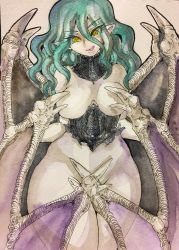 1girl 90s berserk breasts curvy demon_girl female looking_at_viewer naughty_face nude slan smile solo succubus traditional_media