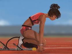 1girl amputee artist_request black_hair dark_skin eyes_closed female olympics prosthesis prosthetic_leg shorts solo sportswear