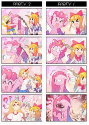 >_< ... 1boy 3girls 4koma :d =_= ? ^_^ angry asphyxiation bart_simpson blonde_hair bow cancer choking comic commentary_request crossover dark_persona eyes_closed flying_sweatdrops hair_bow hair_ribbon highres horns hoshiguma_yuugi ibuki_suika long_hair multiple_4koma multiple_crossover multiple_girls my_little_pony my_little_pony_friendship_is_magic open_mouth pink_hair pinkie_pie pony pump red_eyes ribbon silent_comic smile sparkle strangling sweatdrop tears the_simpsons touhou xd xin_yu_hua_yin