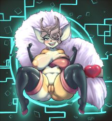 1girl anus areolae blue_lipstick breasts fusion huge_breasts imp inverted_nipples lips lipstick looking_at_viewer midna nipples plump puffy_nipples pussy randomboobguy rouge_the_bat sonic_the_hedgehog the_legend_of_zelda twilight_princess uncensored white_hair