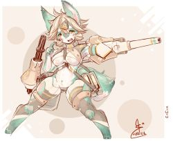 artist_request blonde_hair brown_eyes dog furry open_mouth short_hair weapon
