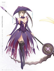 1girl artist_name black_eyes black_hair breasts character_name choker cleavage copyright_name detached_sleeves dress earrings full_body high_ponytail highres holding holding_weapon jewelry long_hair looking_at_viewer maxima_enfield medium_breasts purple_dress purple_hair scythe shining_(series) shining_ark sideboob simple_background sleeveless sleeveless_dress solo standing strapless strapless_dress tanaka_takayuki thighhighs weapon white_background white_legwear