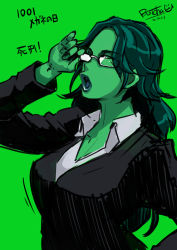 1girl adjusting_glasses breasts eroquis formal glasses green green_background green_hair green_skin lips long_hair marvel open_mouth she-hulk solo suit