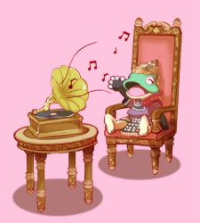 1boy boots eyes_closed filmia frog furry musical_note nalrni open_mouth phonograph pink_background simple_background singing sitting the_legend_of_legacy