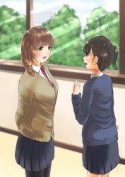 2girls azel_bikushioma blush multiple_girls open_mouth original school_uniform shiny shiny_hair short_hair skirt tree twintails uniform window