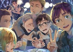 1girl 6+boys ^_^ absurdres alcohol anger_vein beer beer_mug black_hair blonde_hair blue-framed_eyewear blue_eyes brown_eyes christophe_giacometti eyes_closed facial_hair glasses green_eyes grey_eyes grin heart heart_hands highres huhuhuhu isabella_yang it's_j.j._style! jean-jacques_leroy jewelry katsuki_yuuri multiple_boys one_eye_closed open_mouth otabek_altin phichit_chulanont plate ring scarf silver_hair smile sunglasses sunglasses_on_head table v viktor_nikiforov yuri!!!_on_ice yuri_plisetsky