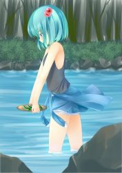 1girl absurdres bare_shoulders blue_eyes blue_hair bush carrying clothes_around_waist cucumber food forest hair_bobbles hair_ornament highres holding kawashiro_nitori nature no_hat no_headwear partially_submerged plate rock shirt shirt_around_waist short_hair shorts solo tank_top touhou tree twintails water