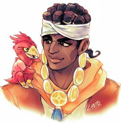 1boy artist_name black_hair brown_eyes dark_skin facial_mark headband jojo_no_kimyou_na_bouken lintufriikki looking_at_another magician's_red male_focus mohammed_avdol on_shoulder portrait signature simple_background smile stand_(jojo) younger