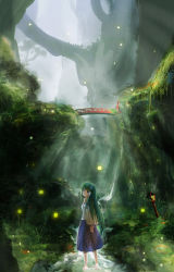 1girl absurdres aki_tsui arms_behind_back backlighting barefoot blue_eyes blue_skirt breasts bridge commentary_request detached_sleeves fireflies fog forest frog_hair_ornament grass green_hair hair_ornament hair_tubes highres kochiya_sanae legs light_rays long_hair long_skirt looking_at_viewer looking_back moss nature parted_lips rock rope scenery shimenawa skirt sleeveless snake_hair_ornament solo stairs stream teeth torii touhou tree very_long_hair wading water waterfall when_you_see_it wooden_lantern wrist_grab