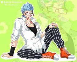 1boy blue_hair curly_hair ghiaccio glasses hokuto_shun jojo_no_kimyou_na_bouken kiss_mark solo vertical_stripes