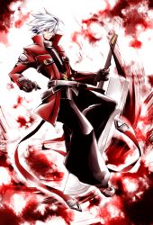 1boy ahoge bangs beltskirt black_pants blazblue brown_gloves closed_mouth commentary_request eyebrows_visible_through_hair frown full_body gloves hair_between_eyes hakama highres holding holding_sword holding_weapon jacket japanese_clothes long_sleeves looking_at_viewer male_focus open_clothes open_jacket pants ragna_the_bloodedge red_eyes red_jacket solo spiked_hair sword weapon white_hair