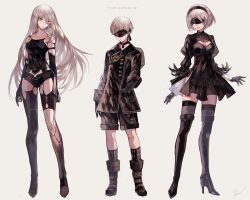 1boy 2girls bare_shoulders black_dress black_gloves black_legwear blindfold blue_eyes boots breasts cleavage dress gloves hairband kanekiru kneehighs long_hair looking_at_viewer mole mole_under_mouth multiple_girls nier_(series) nier_automata short_hair silver_hair thighhighs yorha_no._2_type_b yorha_no._9_type_s yorha_type_a_no._2