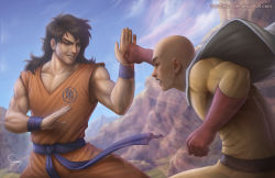 bald black_hair blocking brown_eyes cape commentary dragon_ball dragonball_z mountain one-punch_man punching saitama_(one-punch_man) sam_delatore scar smile surprised yamcha