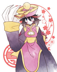 1girl black_hair blue_eyes breasts chinese_clothes cleavage cleavage_cutout cosplay female hat jiangshi kill_la_kill kuma_yuu lei_lei lei_lei_(cosplay) looking_at_viewer matoi_ryuuko multicolored_hair solo vampire_(game) white_skin