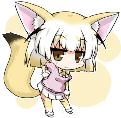 1girl :3 ahoge animal_ears blonde_hair blush brown_eyes chibi elbow_gloves eyebrows_visible_through_hair eyelashes fennec_(kemono_friends) fox_ears fox_tail full_body gloves gradient_hair hand_on_hip hand_on_own_thigh jitome kemono_friends looking_at_viewer multicolored_hair neck_ribbon noai_nioshi outline pink_shirt pleated_skirt pocket puffy_short_sleeves puffy_sleeves ribbon shirt short_hair short_sleeves skirt smile smug solo standing tail thighhighs two-tone_hair white_background white_hair white_outline white_skirt wristband zettai_ryouiki