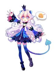 1girl 2016 :o arm_up athria black_shoes blue_eyes blue_legwear blue_skirt bow crown dated demon_power_(elsword) demon_tail detached_sleeves elsword full_body highres long_hair luciela_r._sourcream mini_crown pointy_ears shoes signature skirt solo spoken_food symbol-shaped_pupils tail thighhighs white_background white_bow white_hair