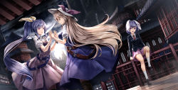 3girls animal_ears architecture belt blazer blonde_hair blue_hair boots bow breasts bunny_ears dutch_angle east_asian_architecture hair_bow hair_ribbon hand_holding hands_together hat highres jacket jitome knee_boots kneehighs loafers long_hair long_sleeves medium_breasts multiple_girls necktie open_mouth pink_skirt pleated_skirt ponytail purple_hair red_eyes reisen ribbon ryosios shoes short_hair short_sleeves sitting skirt touhou very_long_hair watatsuki_no_toyohime watatsuki_no_yorihime white_legwear yellow_eyes