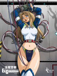 1girl asics bondage competition_swimsuit erect_nipples frontal_wedgie long_hair nyanko_batake one-piece_swimsuit original swimsuit wedgie