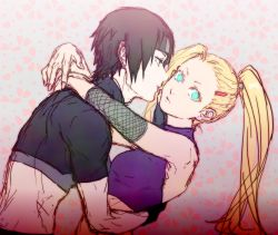 1boy 1girl black_hair blonde_hair couple fishnets hug midriff naruto naruto_shippuuden pale_skin ponytail sai tinami_(murasaki1783) yamanaka_ino
