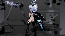 1girl 3d ass black_sister boots breasts choujigen_game_neptune drill_hair eyebrows green_eyes gs-mantis gun high_heel_boots high_heels loli long_hair looking_at_viewer looking_back neptune_(series) shiny shiny_hair shiny_skin small_breasts solo twin_drills twintails uni_(choujigen_game_neptune) weapon