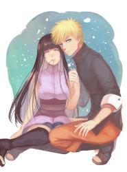 1boy 1girl blonde_hair hair_in_mouth hand_holding hime_cut hyuuga_hinata liangchanxingmingrixiang naruto naruto:_the_last purple_hair spiked_hair uzumaki_naruto