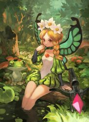 1girl blonde_hair bow_(weapon) braid butterfly_wings crossbow fairy flower frog hair_flower hair_ornament ingway_(odin_sphere) lack long_hair mercedes odin_sphere pointy_ears puffy_sleeves red_eyes tongue tongue_out twin_braids weapon wings