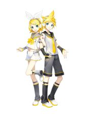 1boy 1girl arm_hug blonde_hair brother_and_sister highres ixima kagamine_len kagamine_len_(vocaloid4) kagamine_rin kagamine_rin_(vocaloid4) nail_polish official_art short_hair siblings smile standing_on_one_leg twins vocaloid