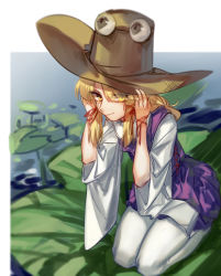 1girl blonde_hair dress eyes_visible_through_hair hair_over_one_eye hat hug_(yourhug) lily_pad moriya_suwako seiza sitting smile touhou white_legwear wide_sleeves yellow_eyes