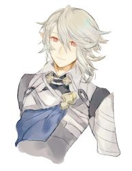 1boy armor fire_emblem fire_emblem_if looking_at_viewer male_my_unit_(fire_emblem_if) my_unit_(fire_emblem_if) pointy_ears red_eyes shourou_kanna smile white_hair