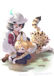 2girls all_fours animal_ears backpack bag black_gloves black_hair black_legwear blonde_hair blush boots brown_shoes bucket_hat cat_ears cat_tail dated elbow_gloves eyes_closed gloves hair_between_eyes hat hat_feather highres kaban_(kemono_friends) kemono_friends loafers multiple_girls neki_(wakiko) open_mouth pantyhose red_shirt serval_(kemono_friends) serval_ears serval_print serval_tail shirt shoes short_hair shorts sitting sleeveless smile tail tears twitter_username wavy_hair white_boots