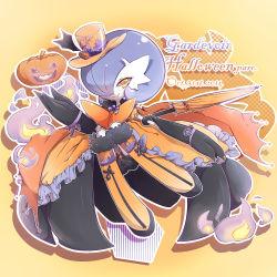 1girl blue_hair boots dress halloween hat mega_gardevoir mega_pokemon pokemon pumpkin umbrella yellow_eyes