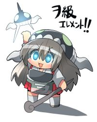 1girl akagi_(kantai_collection) cane chibi glowing glowing_eyes kakuzatou_(koruneriusu) kantai_collection solo translated wo-class_aircraft_carrier wo-class_aircraft_carrier_(cosplay)
