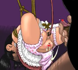 1boy 1girl aftersex age_difference anal_insertion ass bdsm bondage brown_hair censored crotchless cum cum_in_ass cum_in_pussy cumdrip enema fat_mons feet flat_chest from_behind hanging hetero loli panties penis pov pussy restrained rope socks spread_legs suspended torn_panties upskirt