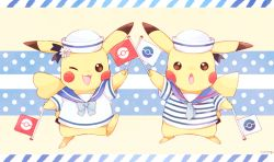 flag full_body hat looking_at_viewer mei_(maysroom) no_humans one_eye_closed open_mouth pikachu pokemon sailor sailor_collar sailor_hat standing