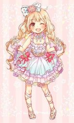 1girl blonde_hair bow brown_eyes dress frills full_body futaba_anzu hair_bow idolmaster idolmaster_cinderella_girls idolmaster_cinderella_girls_starlight_stage long_hair low_twintails one_eye_closed restaint solo twintails